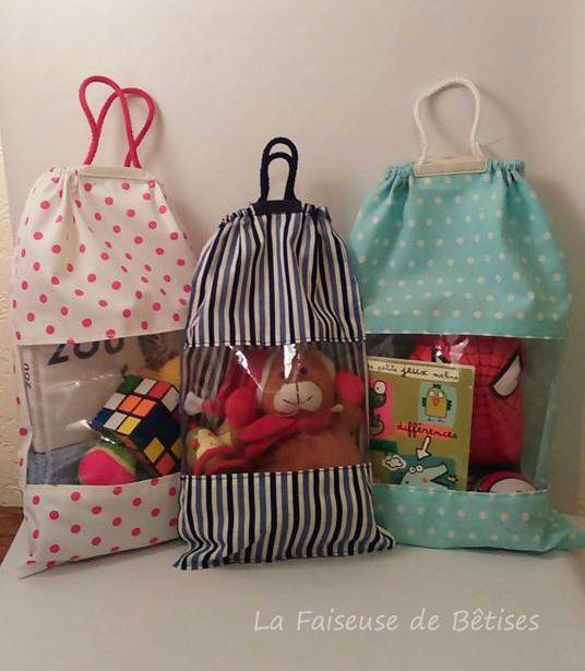 sacs pour ranger les jouets par aurore thread needles. Black Bedroom Furniture Sets. Home Design Ideas