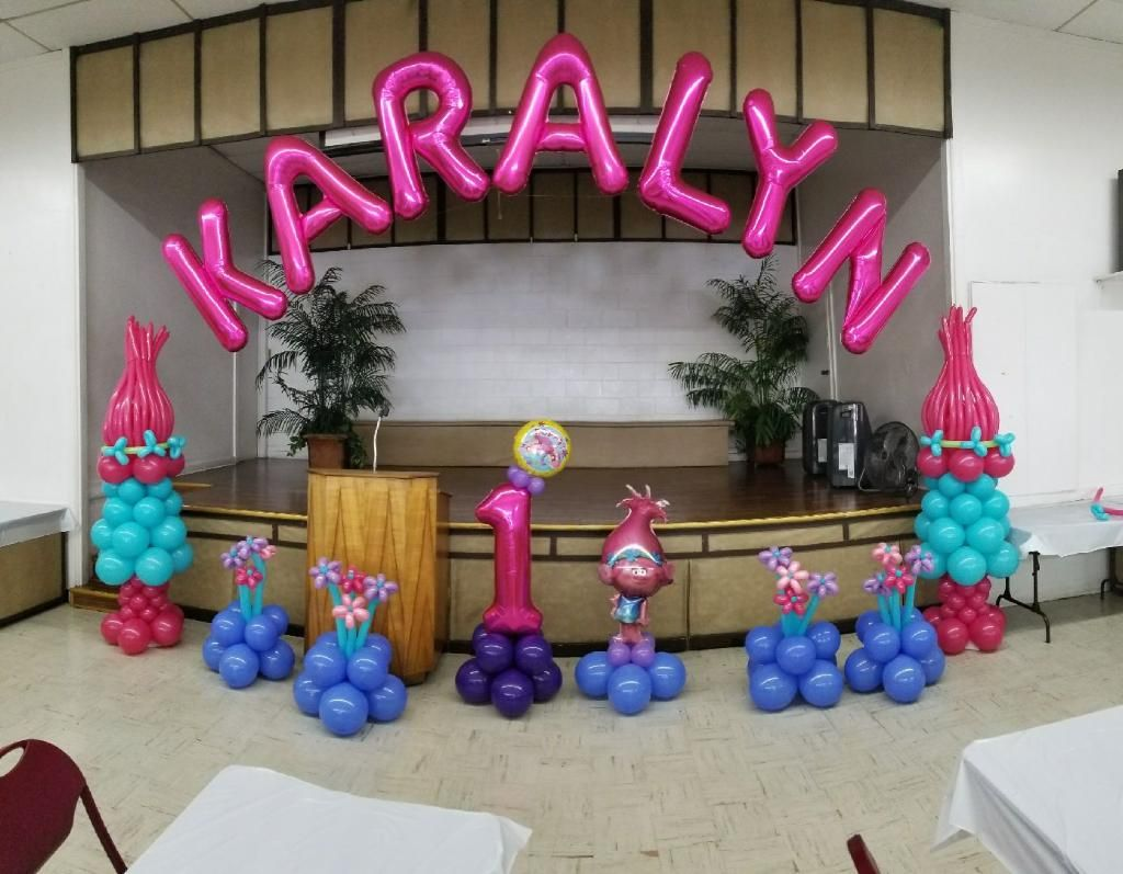 Trolls Themed Balloon Decoration For My Daughters 1st Birthday Party Done By TecArt Ideas Hawaii