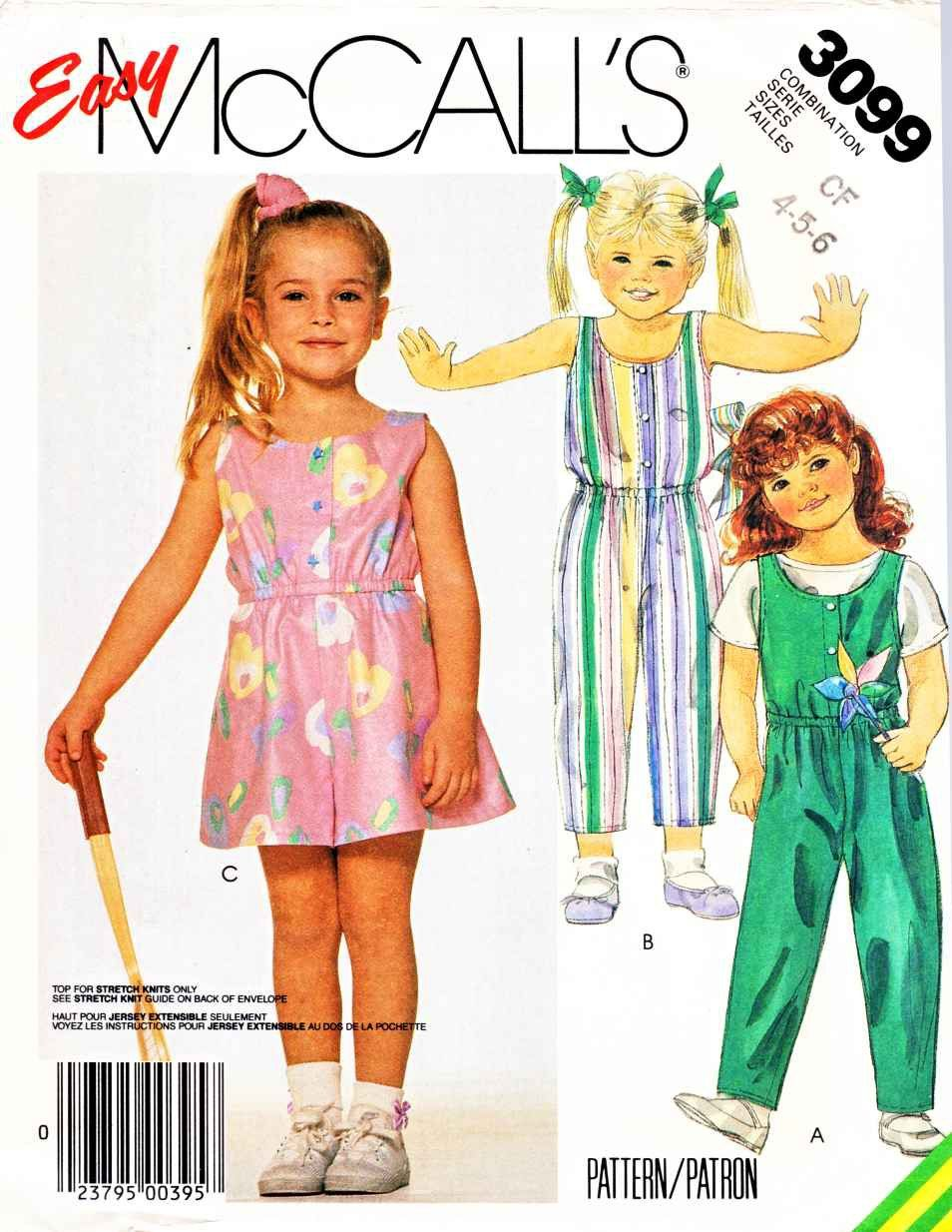 McCall\'s Sewing Pattern 3099 M3099 Girls Size 4-6 Easy Romper ...