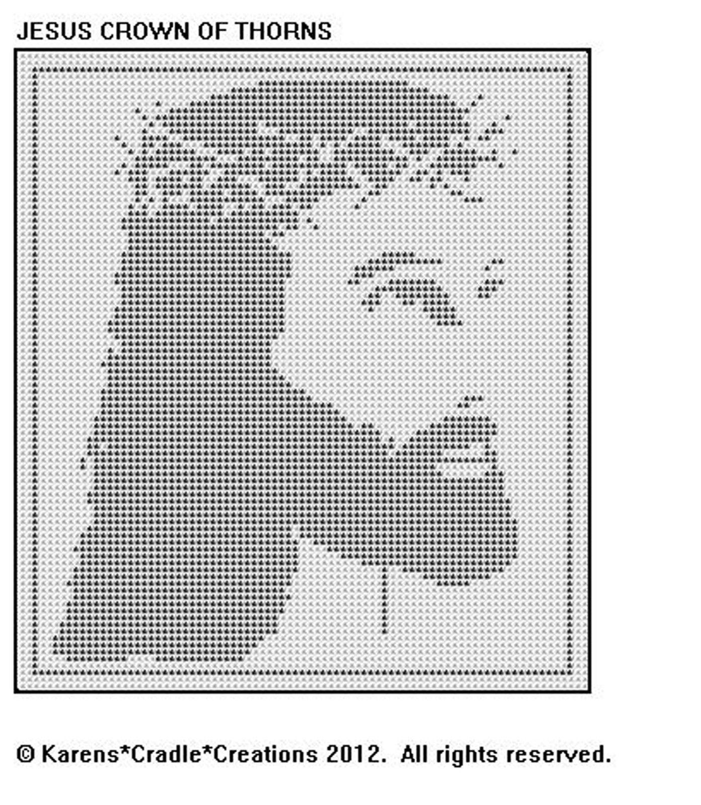 JESUS CROWN OF THORNS Filet Crochet Pattern   red   Pinterest ...