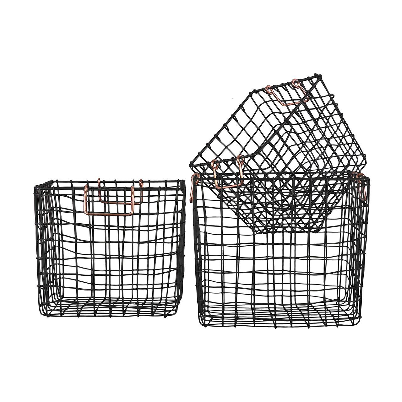 Urban Trends Collection Black Finish Metal Wire Square Nesting ...