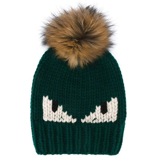 Fendi Bag Bugs bobble hat ( 550) ❤ liked on Polyvore featuring accessories 361eca95a96b