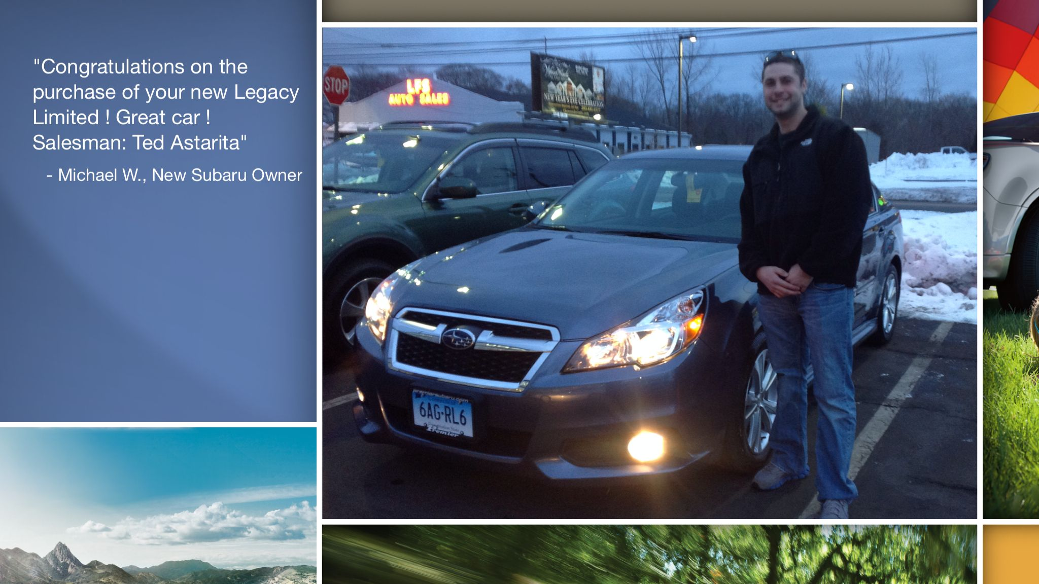 Dear Michael Williams   A heartfelt thank you for the purchase of your new Subaru from all of us at Premier Subaru.   We're proud to have you as part of the Subaru Family.