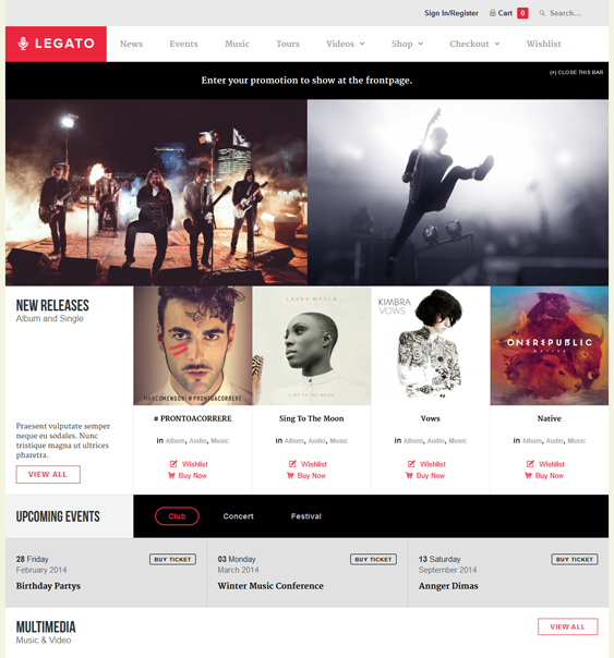 This music WordPress theme features an event management system, a ...