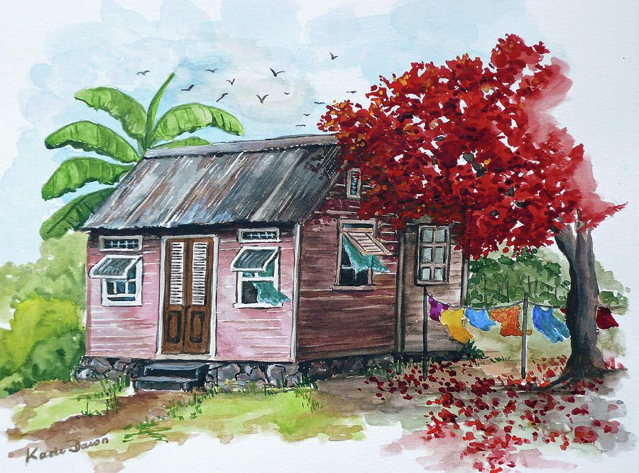 House Paintings caribbean houses pictures | pink caribbean house paintingkarin