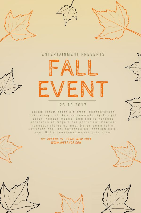 sepia fall event poster social media post template fall autumn
