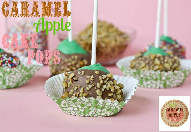 Caramel Apple Cake Pops. I think I'd skip the snot colored super sweet candy melt and dip these in thicker caramel instead.