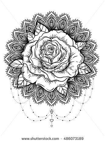 Hand Drawn Rose Flower Over Ornate Round Pattern Mandala