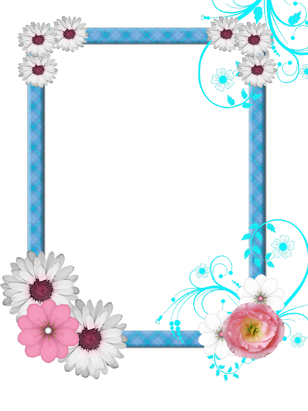 PNG Frame with flowers on a transparent background 1200 x
