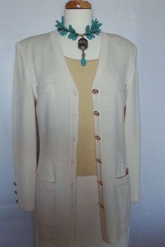 SPRING SALE St. John Knits Bright White Sweater by ElizEclectics ...