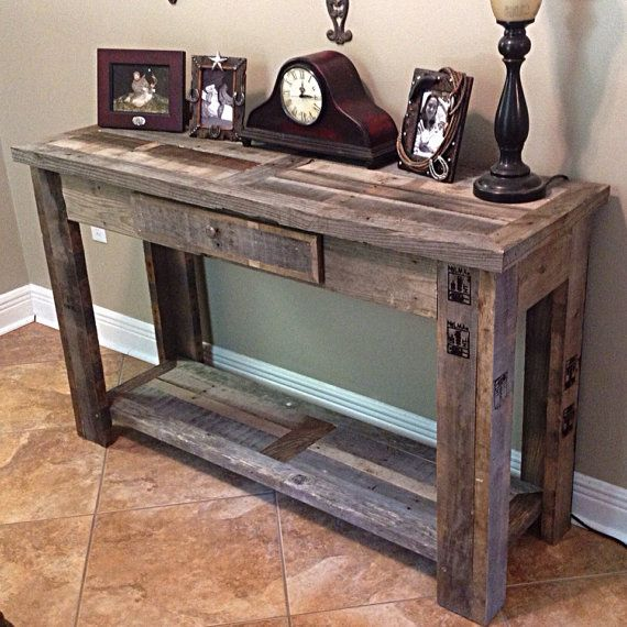 Rustic sofa table by boondockrustics on etsy r e c l a i for Console table decor ideas