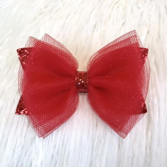 "3 pieces Red 2.5/"" glitter bow DIY baby headband supplies"