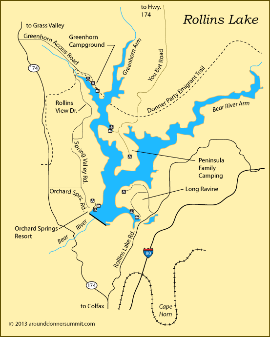 Map Of Rollins Lake Colfax Ca Lake Camping Donner