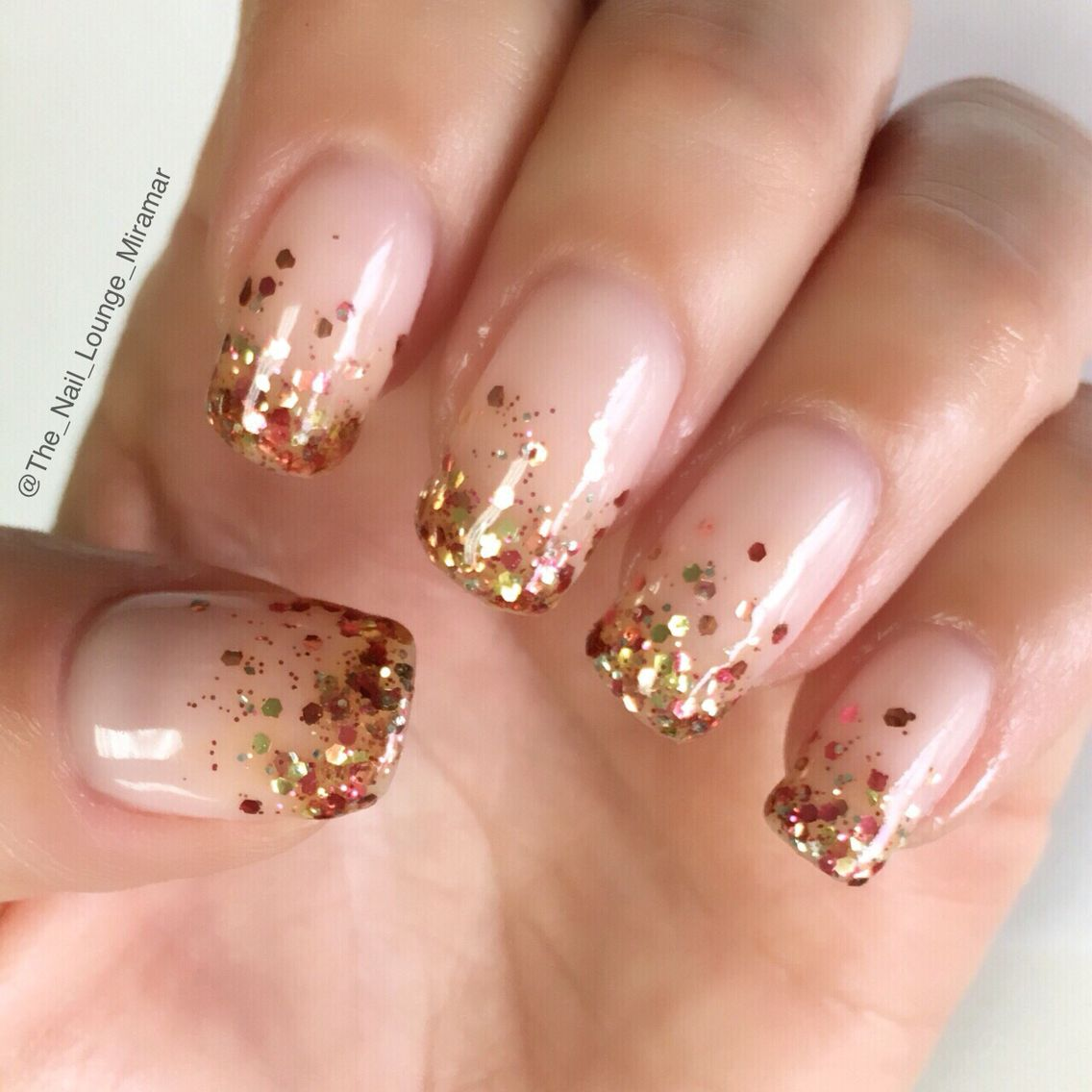 Autumn colors fall glitter ombre nail art design | Nail ...