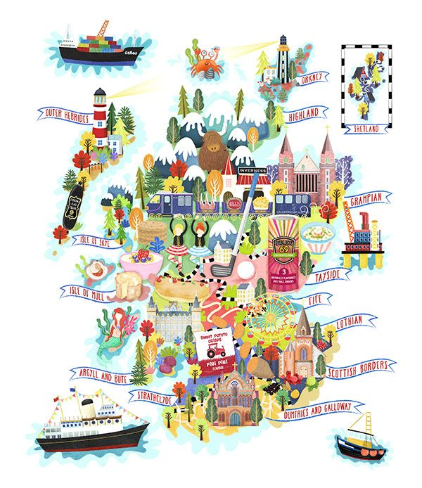 Scotland food map illustration for Food Health and