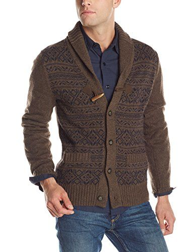 Haggar Men's Shawl Collar Fair Isle Cardigan Sweater, Dark Brown ...