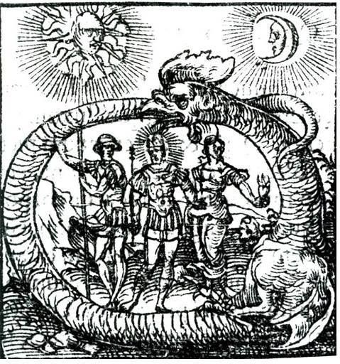 Ouroboros Is Symbol Of Defeating Aliens By 3 Moseses Or Mesias Who Led Rebelion Antique Illustration Woodcuts Prints Alchemy Symbols
