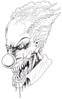 How To Draw A Killer Clown : killer, clown, Scary, Clown, Drawing,, Halloween, Drawings,, Clowns