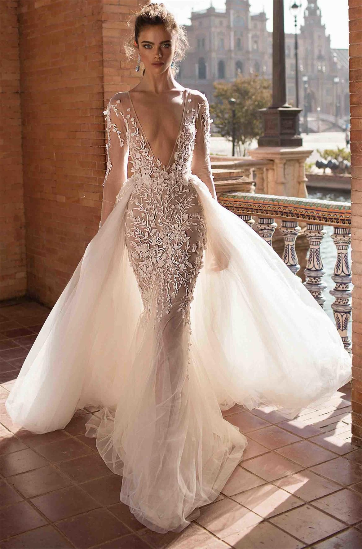 df1b39b0aae4a 2018 Newest Berta Wedding Dresses With Long Sleeve Lace Applique ...