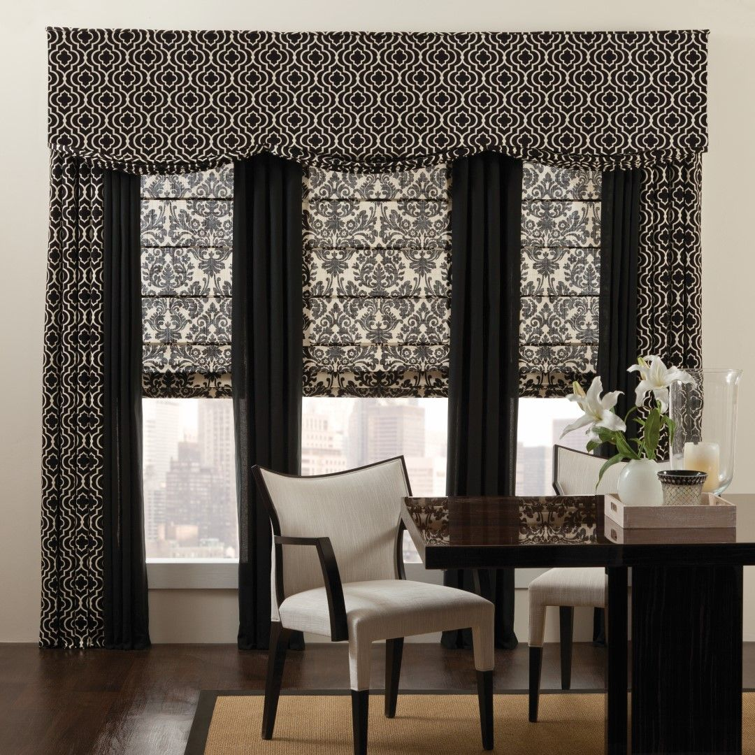 mix and match different patterns with printed valances solid panels and floral print roman. Black Bedroom Furniture Sets. Home Design Ideas