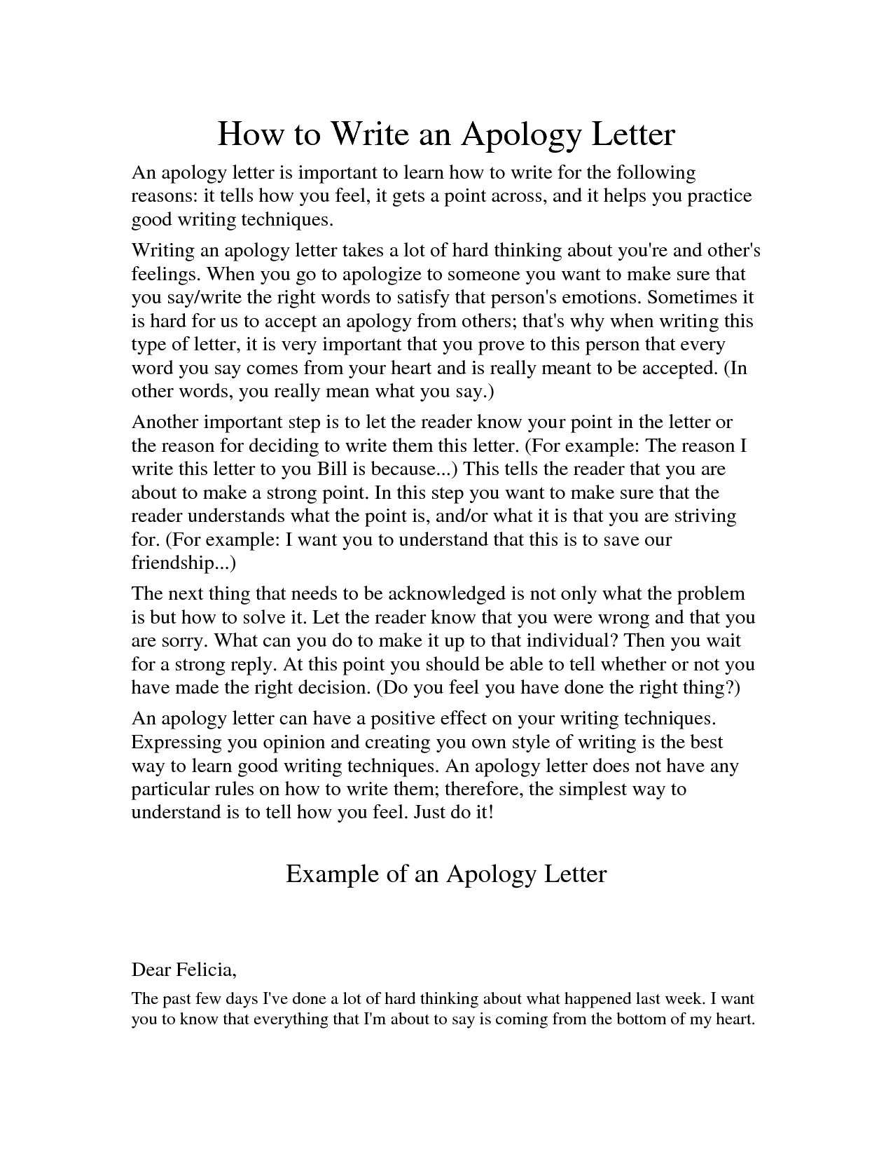How To Write An Apology Letter To A Teacher Sampleletter Of Apology