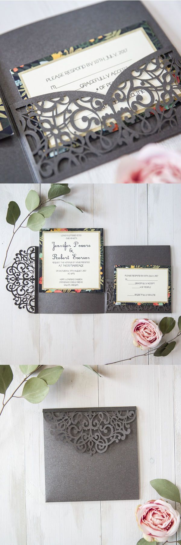 EWI 2017 Trendy New Grey Wedding Invitations with Matched Color
