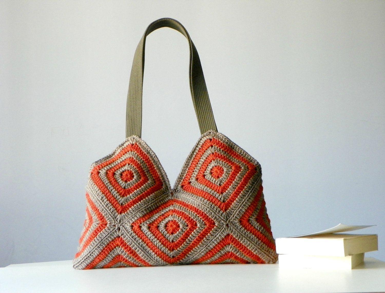 Crochet women bag, Stripet crochet Bag, granny square, Fall autumn ...