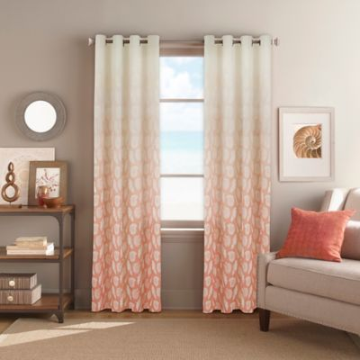 Seascape Grommet Top Window Curtain Panel In Coral Curtains Living Room Dining Room Curtains Coral Curtains