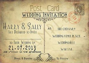 PersonalisedVintageChicPostcardWeddingInvitationsXShabby
