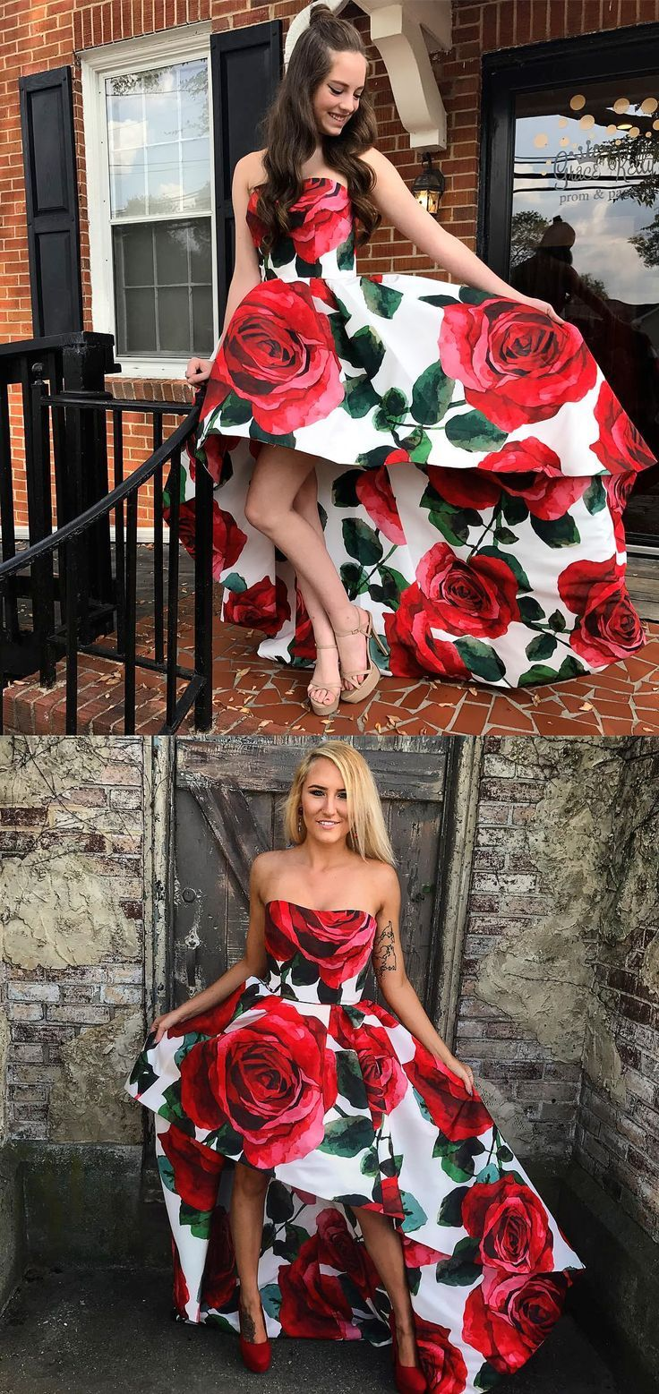 prom dress floral high low long prom dress strapless floral