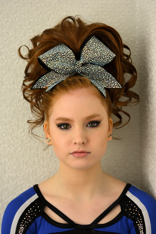 teased cheer hair curls ponytail braid | cheer | cheer hair