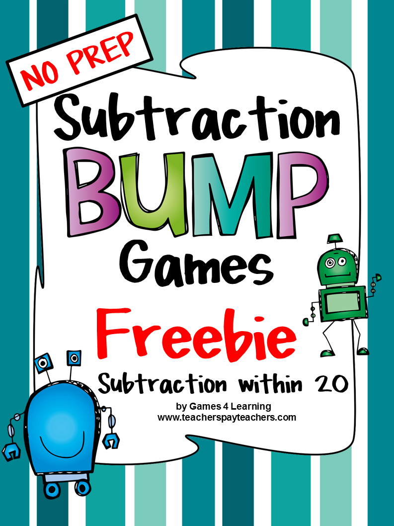 FREEBIES -Subtraction fun with these Subtraction Bump Games ...