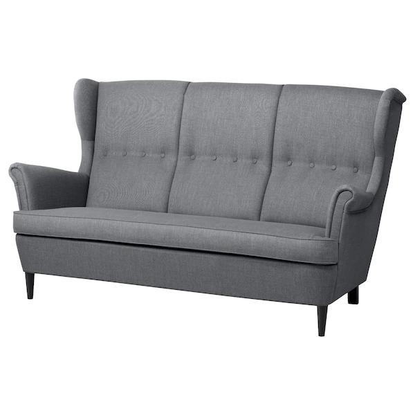 Strandmon 3er Sofa Mit Dunkelgraume Bezug Elegant Bequem Ikea Osterreich Med Bilder Ikea Sofa Soffa