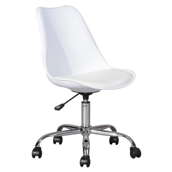Blokhus Chaise De Bureau Simili Blanc Style Contemporain L 52 5 X P 52 5 Cm En 2020 Chaise Bureau Chaise De Bureau Blanche Chaise