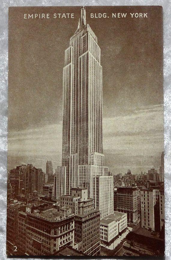 Spring Sale Empire State Building Sepia Postcard, NY New York City, Art Deco c1930s Antique Vintage, Manhattan, OakwoodView, $5.00