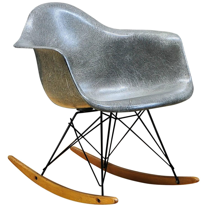 1950s Elephant Hide Grey Eames RAR Rope Edge Rocking Chair