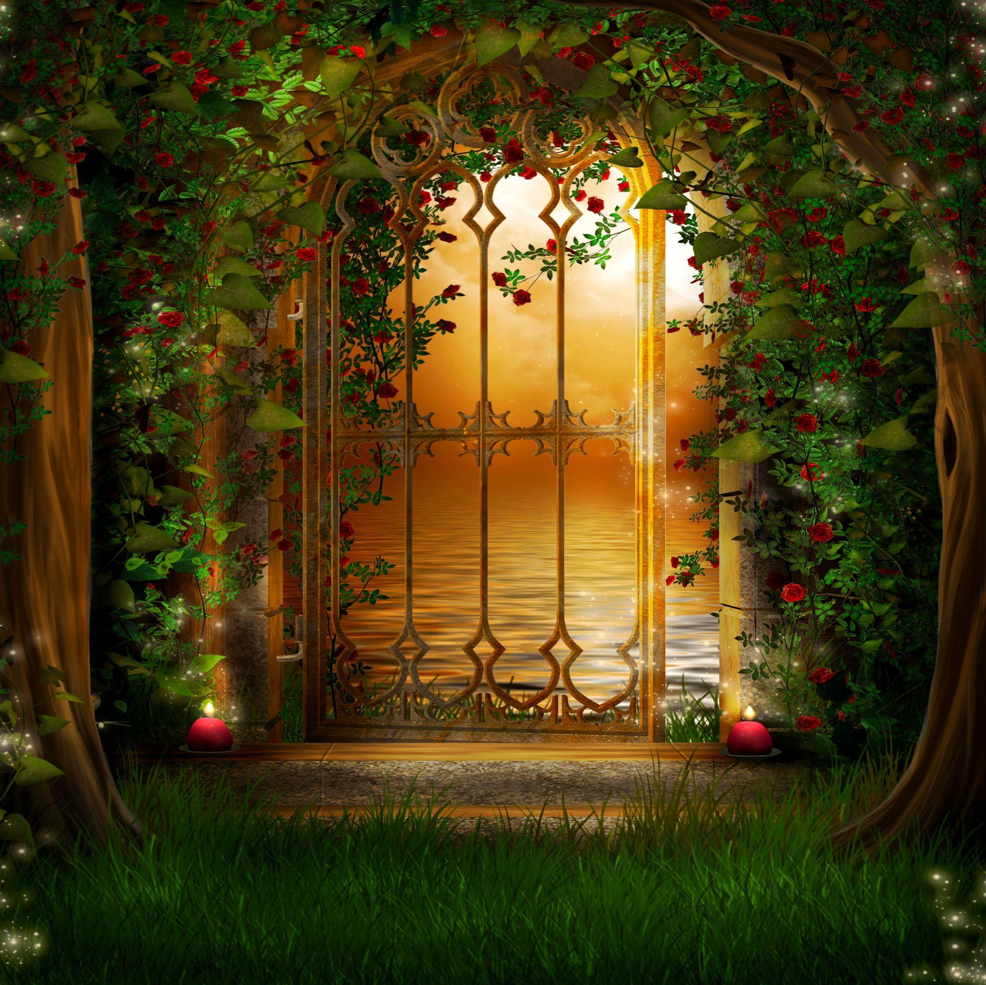 Gateway To The Romantic Garden Wallpaper Eingangsbereich Kunst Fantasie Hintergrund Hintergrund