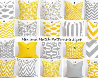 PILLOWS Pillow Covers.Yellow Pillows Gray by ElemenOPillows