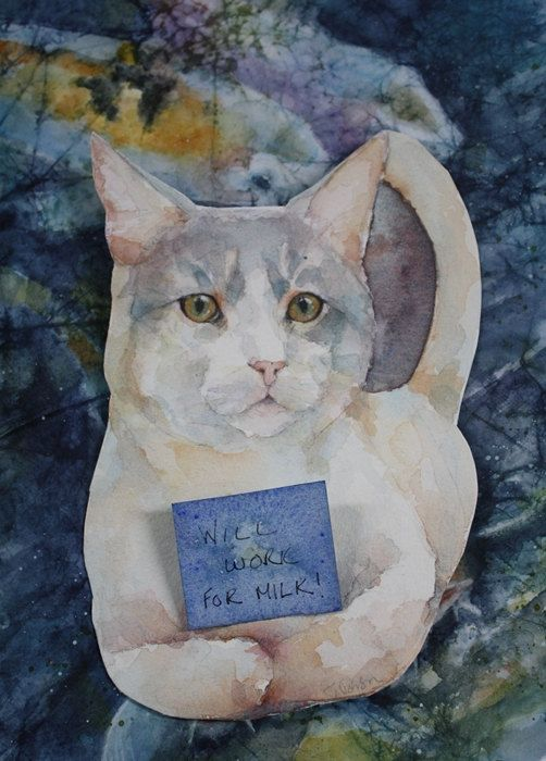 Oscar the cat  Customizable Art Card  Instant by JobsonFineArt, $6.00