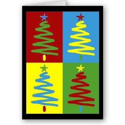 Pop Art Christmas Trees Card Christmas Art Christmas Card Art Christmas Tree Cards