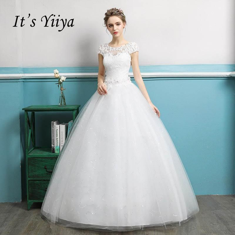 It\'s YiiYa New White Illusion Backless Flowers Sequined Wedding ...