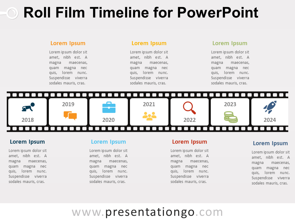 Roll Film Timeline For Powerpoint Presentationgo Com Timeline Design Powerpoint Powerpoint Slide Designs