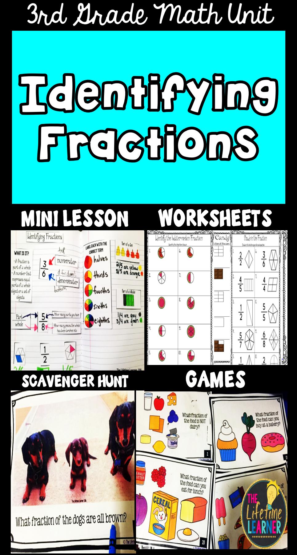 Identifying Fractions - Fraction Worksheets Activities Games | Pinterest
