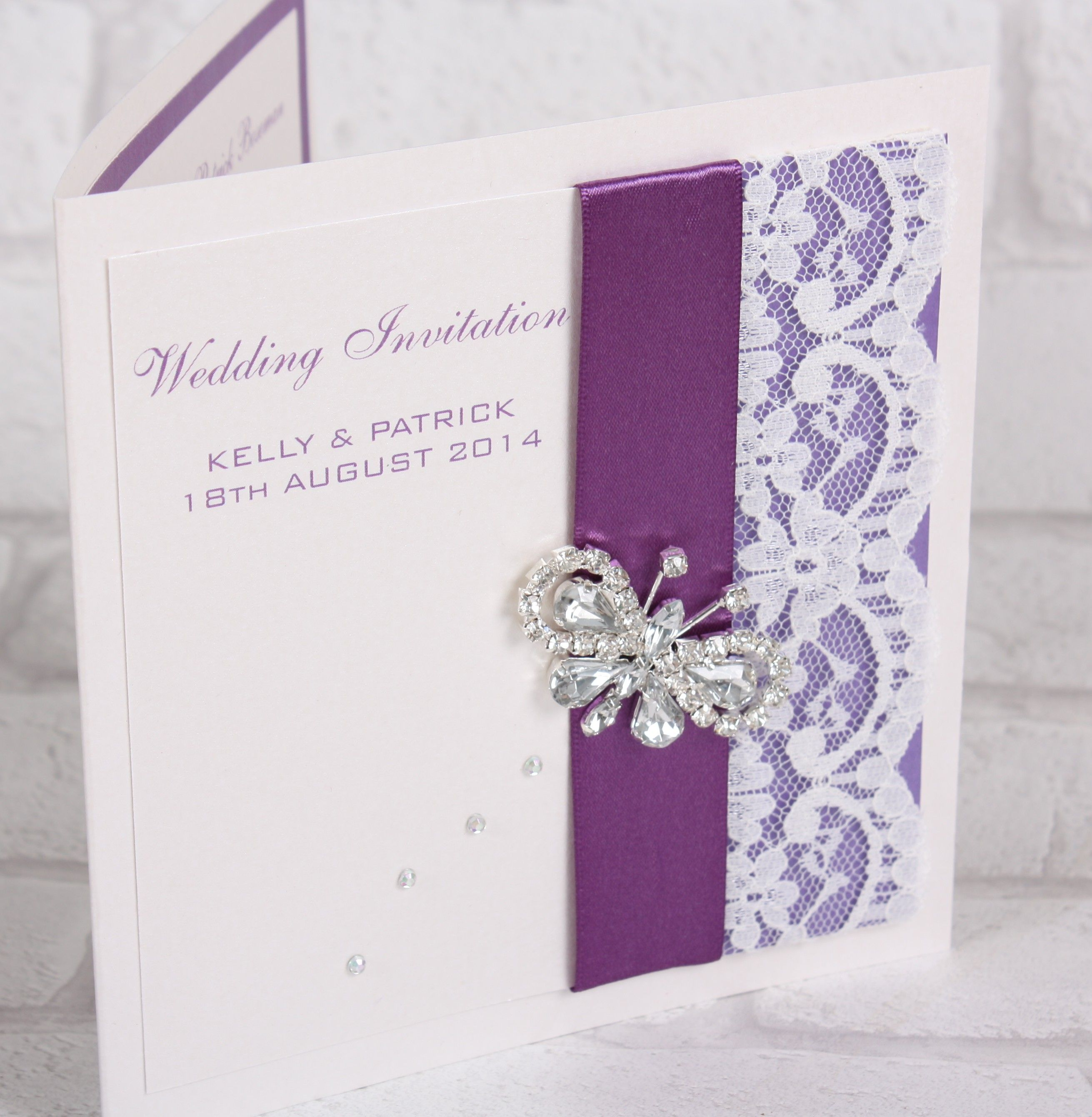 Butterfly And Lace Personalised Wedding Invitation Available As