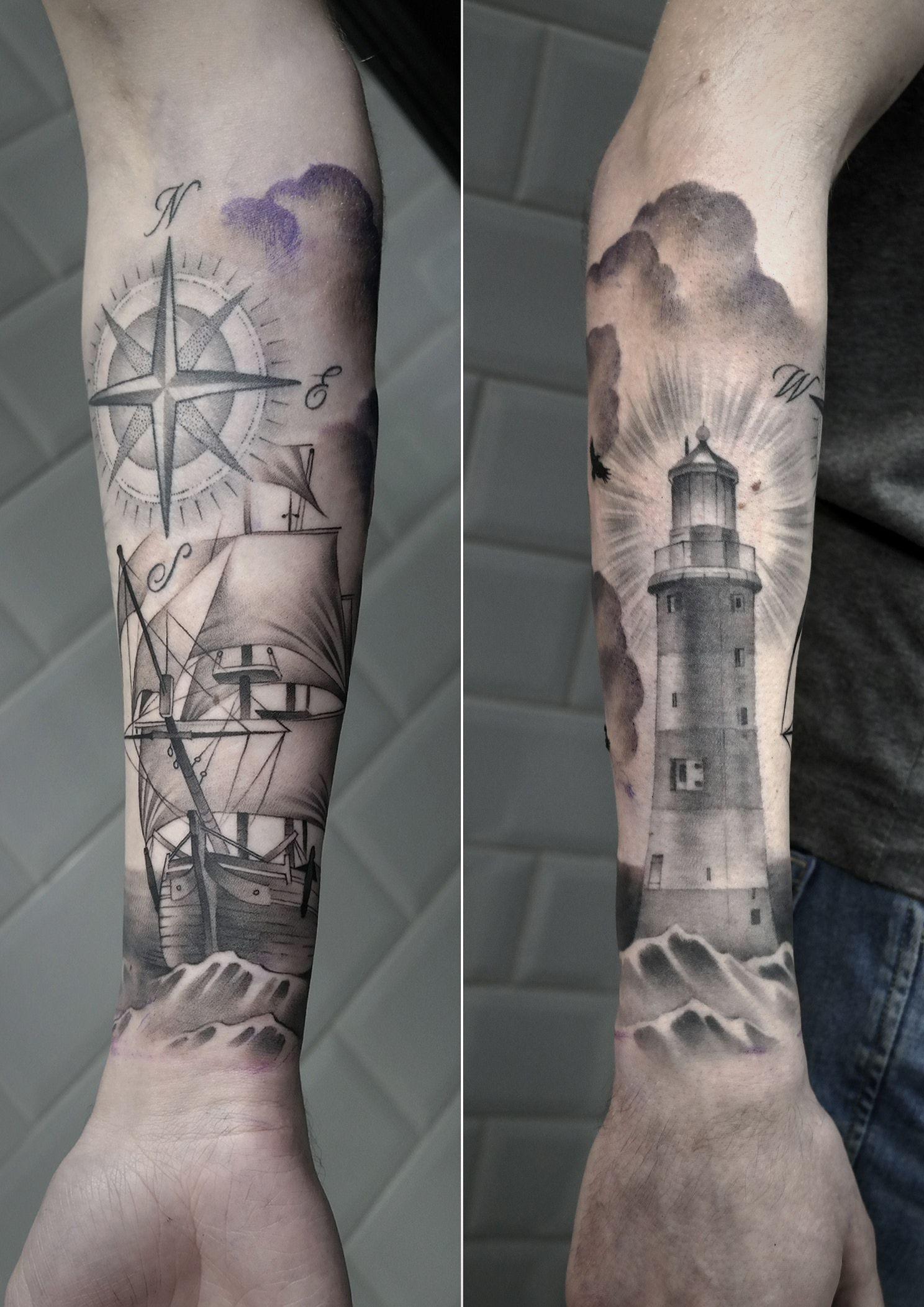 Sailing ship with compass and lighthouse. Something fresh, something healed…