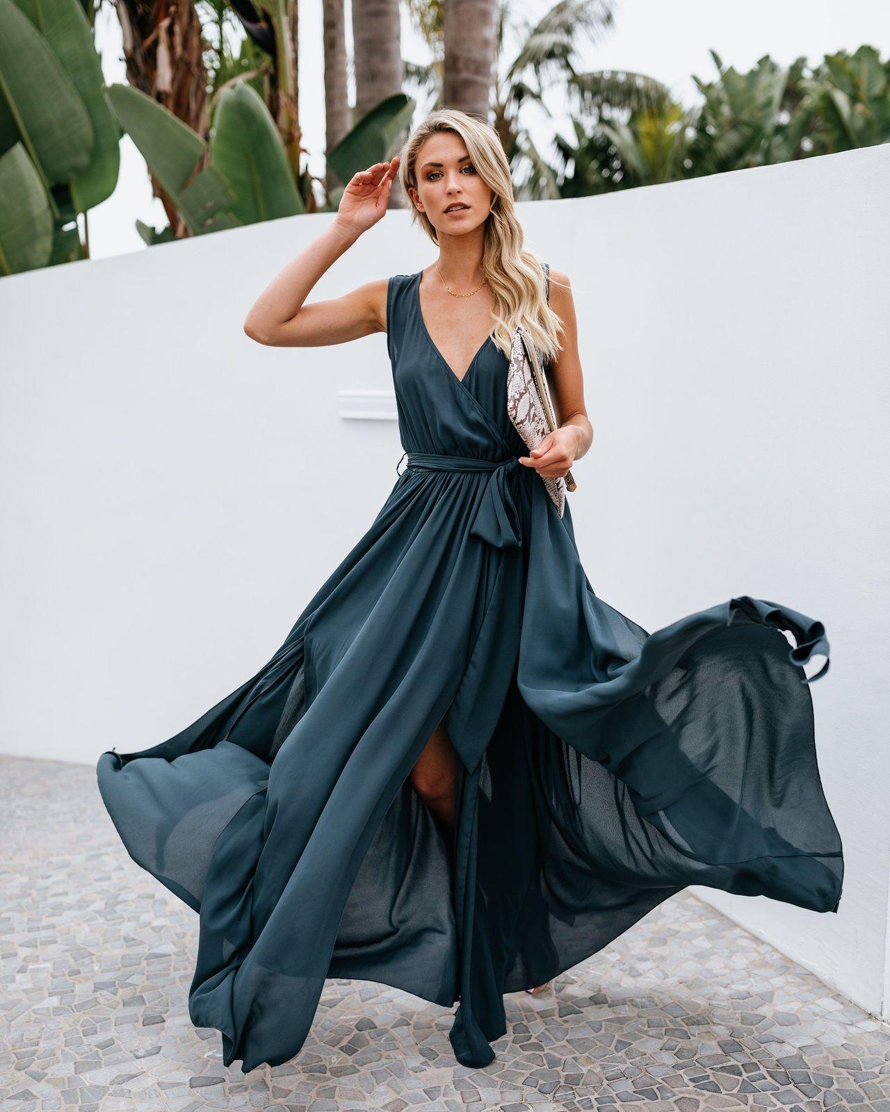 Click On The Photo To Shop This Beautiful Maxi Dress New Dark Green V Neck Belt Women Maxi Wrap Dress Boho Dresses Long Maxi Dress Summer Dresses For Women [ 1600 x 1280 Pixel ]