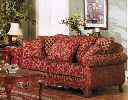 Best Sale Sofa Couch Burgundy Gold Floral Chenille Fabric Red