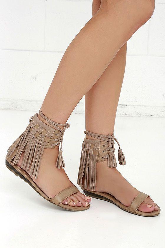 af56c521a Very Volatile Aubrey Taupe Suede Leather Fringe Sandals at Lulus.com!