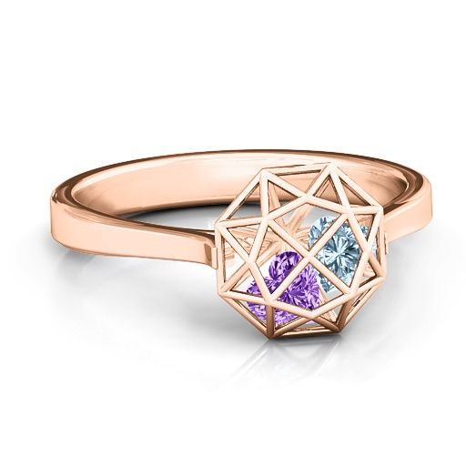 Diamond Cage Ring with Encased Heart Stones