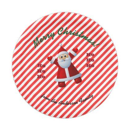 Santa Claus Merry Christmas Candy Cane Paper Plate  sc 1 st  Pinterest & HO! HO! HO! Santa Claus Merry Christmas Candy Cane Paper Plate
